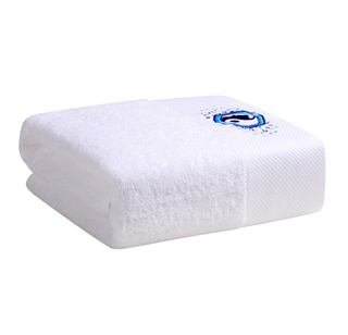 Custom Made White Embroidery Luxury Cotton Hotel Bath Towel