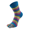 Custom Cotton Rainbow Stripe Color Full Toes Men Crew Socks
